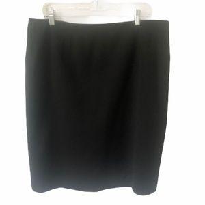 Anne Klein Black Pencil Skirt Knee Zipper 14